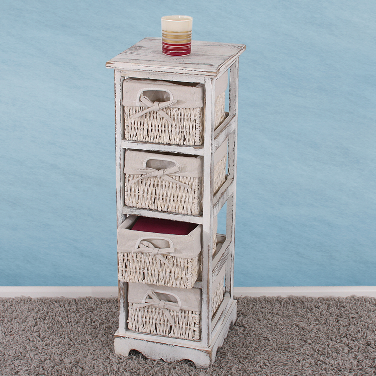 regal kommode mit 4 korbschubladen 74x25x28cm shabby look vintage wei. Black Bedroom Furniture Sets. Home Design Ideas