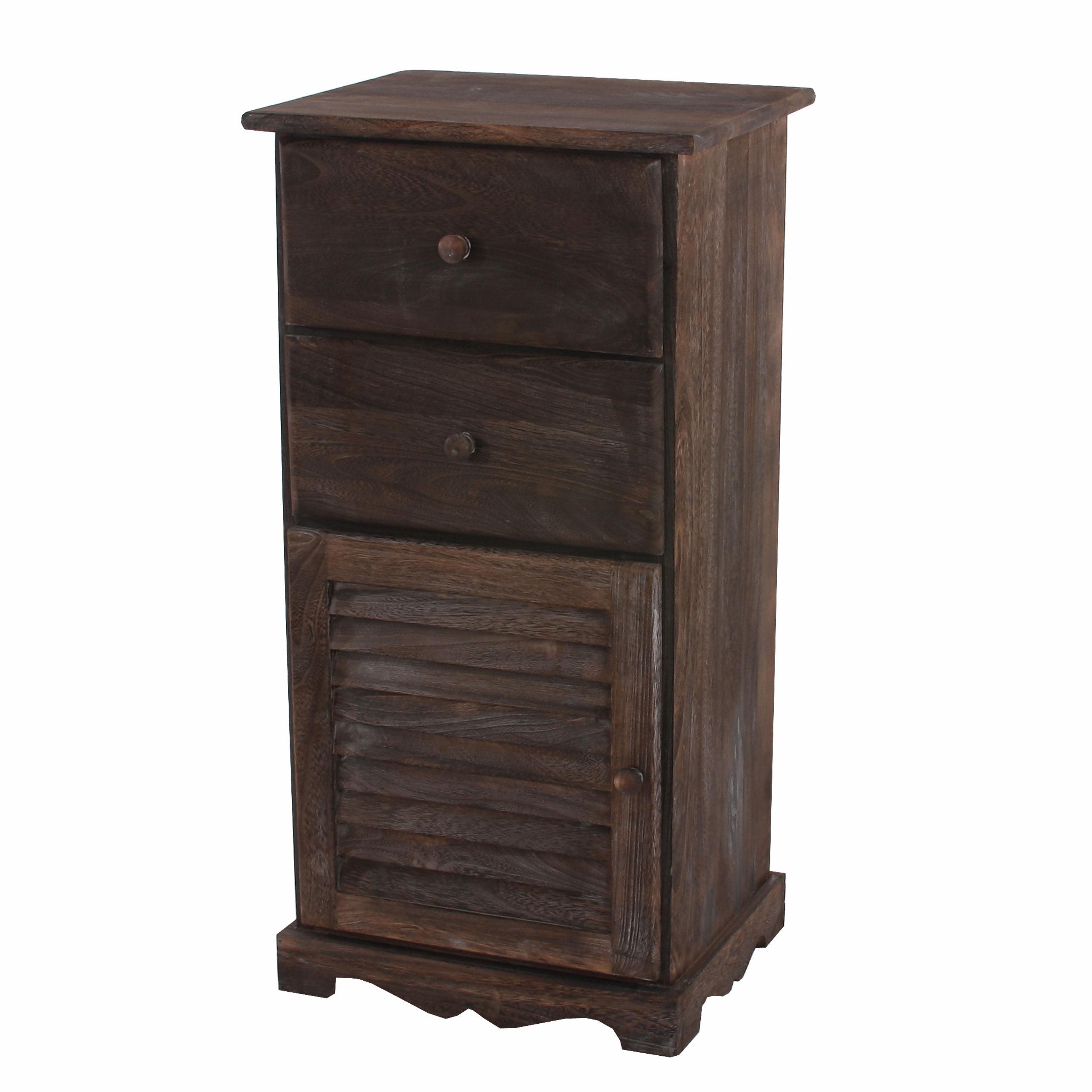 kommode schrank 81x40x32cm shabby look vintage braun wei ebay. Black Bedroom Furniture Sets. Home Design Ideas