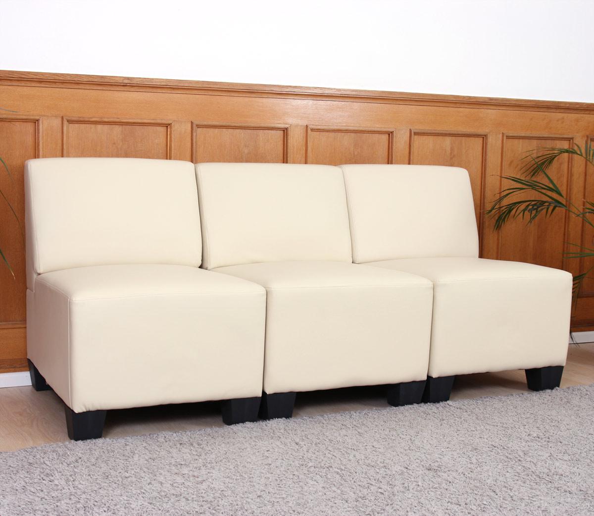 Modular 3 Sitzer Sofa Couch Lyon Kunstleder Ohne Armlehnen Creme