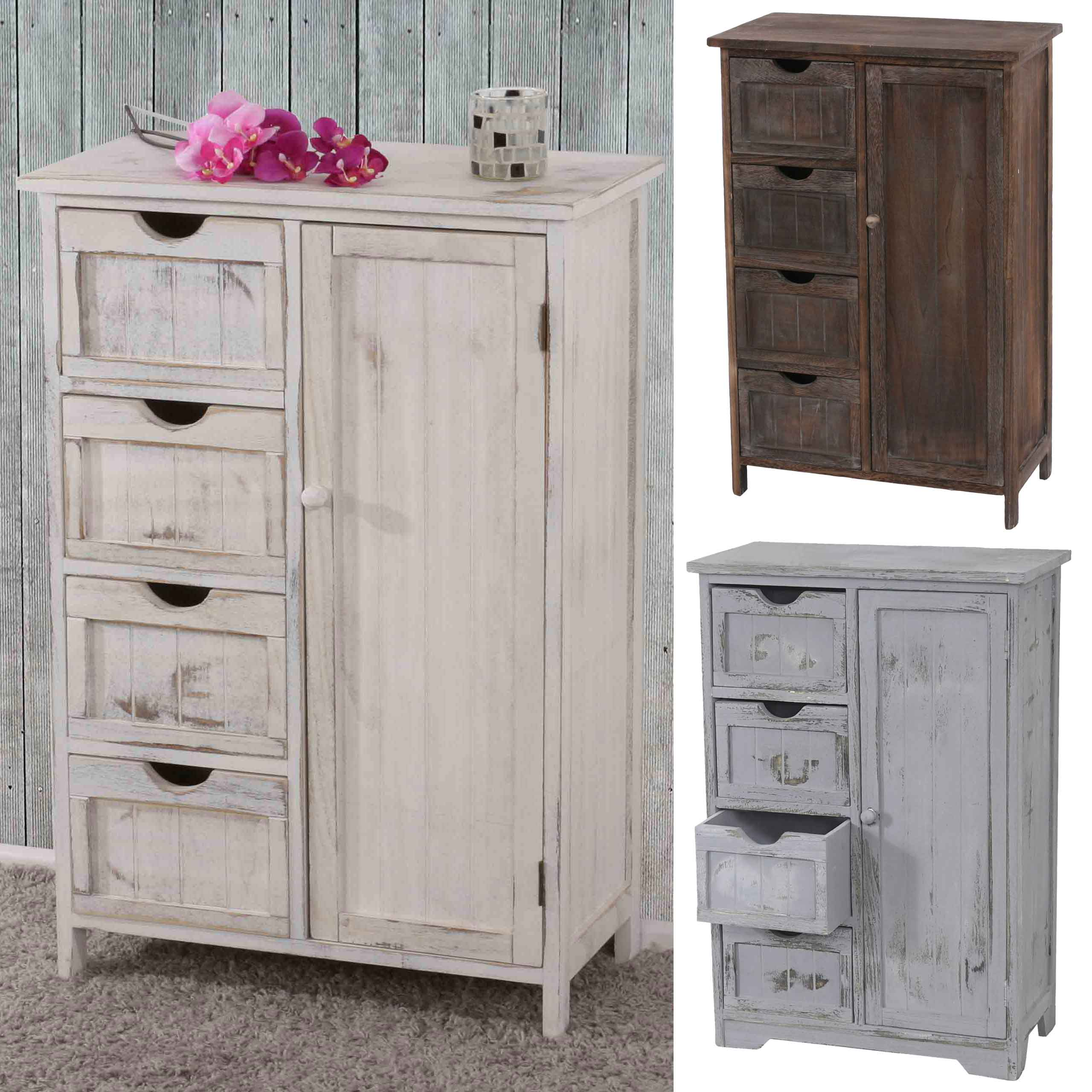 commode armoire 82x55x30cm shabby chic vintage blanc marron gris ebay. Black Bedroom Furniture Sets. Home Design Ideas