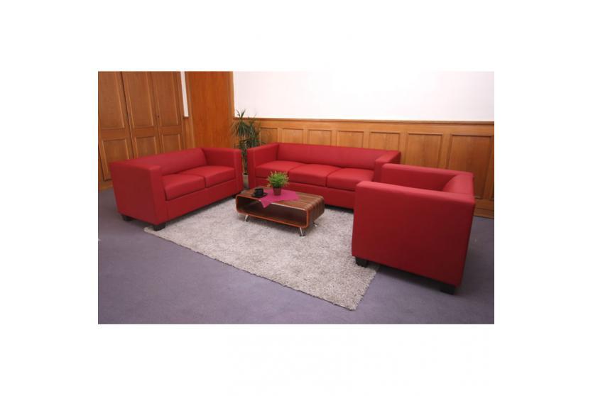 3 2 1 sofagarnitur couchgarnitur loungesofa lille leder rot. Black Bedroom Furniture Sets. Home Design Ideas