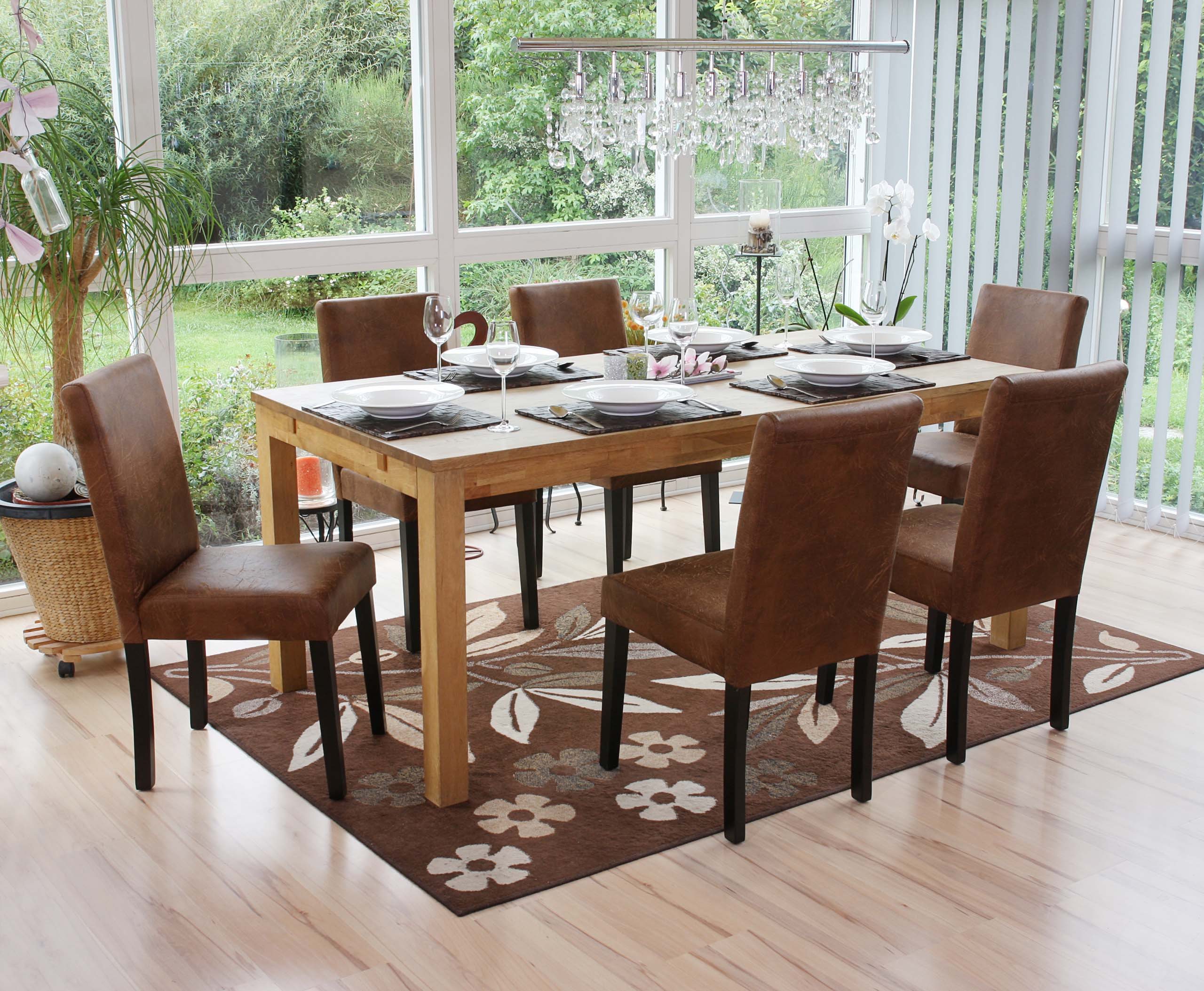 Détails div de chaises foncés Lot de coloris séjour clairs cuirpieds sur 2 Littausimili ALj54R
