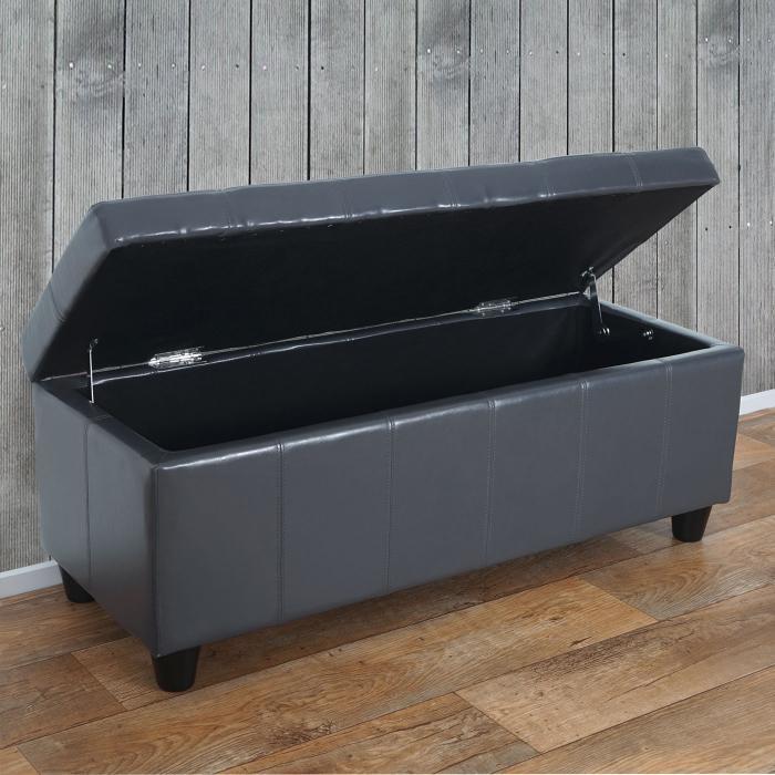 aufbewahrungs truhe sitzbank kriens leder kunstleder 112x45x45cm grau. Black Bedroom Furniture Sets. Home Design Ideas