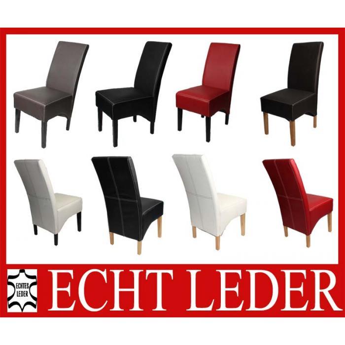 2x Esszimmerstuhl Küchenstuhl Stuhl Latina, LEDER ~ braun, dunkle Beine