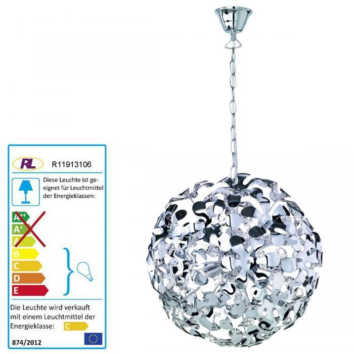 Pendelleuchte inkl Leuchtmittel,Edelstahl /& Glas,Hängelampe,Esstischlampe,NEU