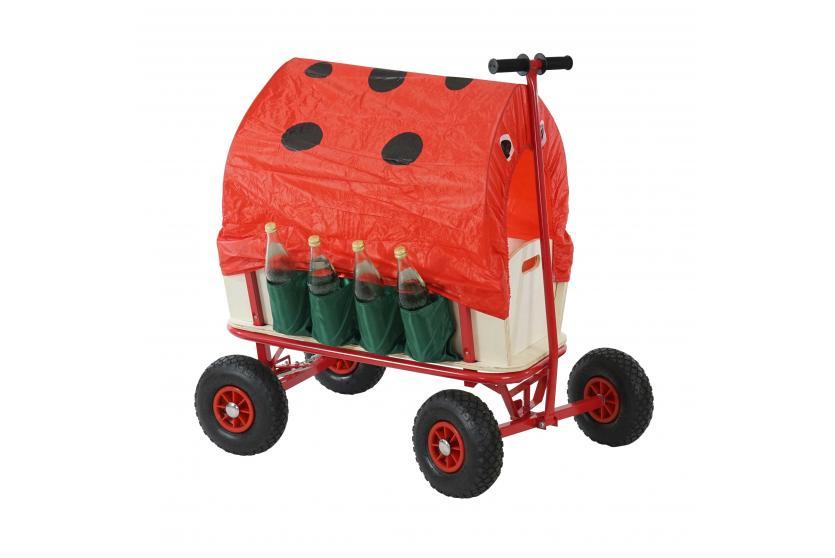 bollerwagen marienk fer handwagen mit flaschenhalter bremse und sitz dach rot. Black Bedroom Furniture Sets. Home Design Ideas