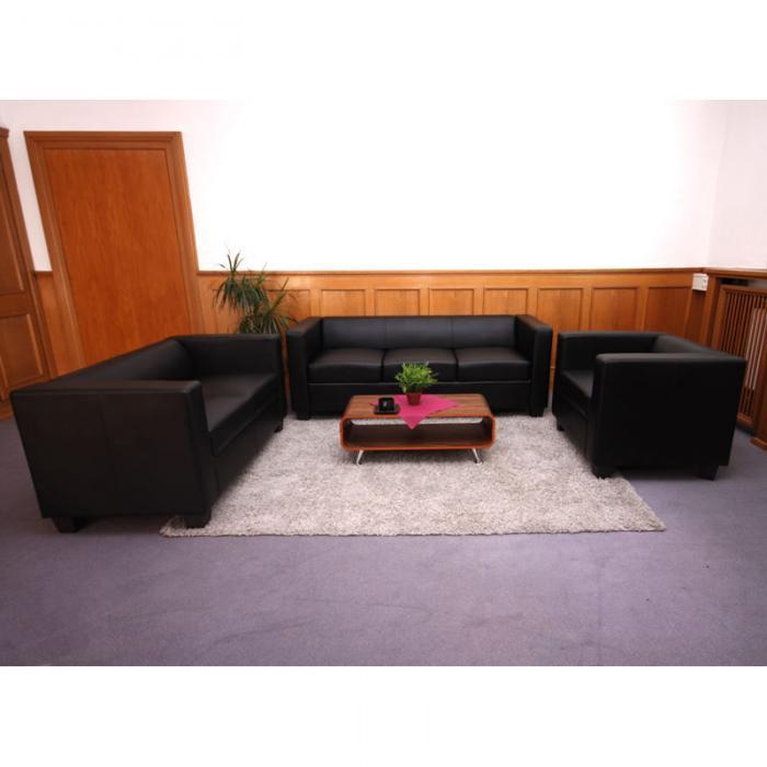3 2 1 Sofagarnitur Couchgarnitur Loungesofa Lille Leder Schwarz