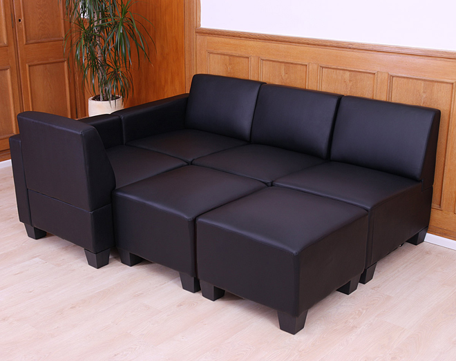 modular 4 sitzer sofa couch lyon kunstleder rot schwarz creme ebay. Black Bedroom Furniture Sets. Home Design Ideas