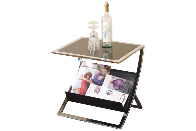 beistelltisch h88 couchtisch wohnzimmertisch mit zeitungsablage 48x50x40cm schwarz. Black Bedroom Furniture Sets. Home Design Ideas