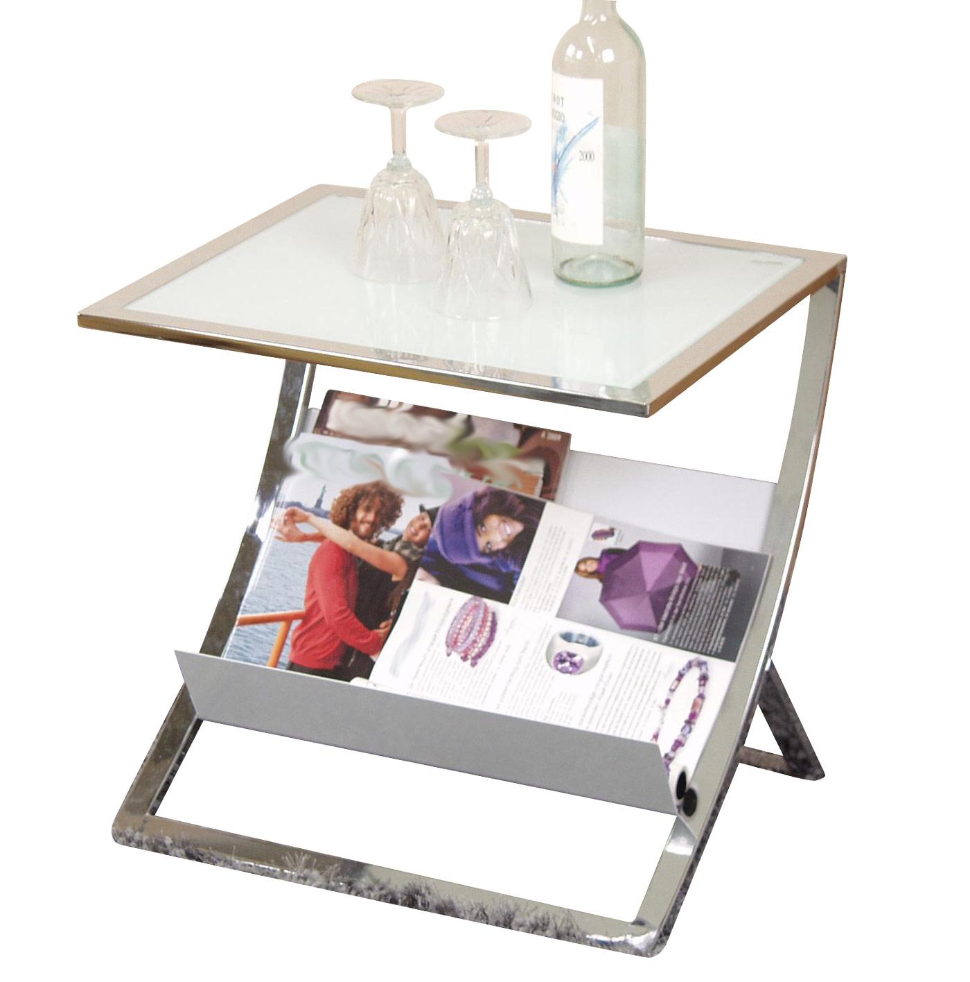 Beistelltisch h88 couchtisch wohnzimmertisch mit for Beistelltisch glas mit zeitungsablage