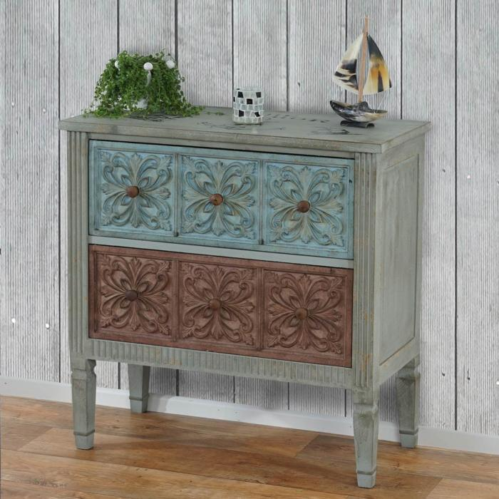 kommode aveiro sideboard schrank shabby look vintage 80x79x40cm. Black Bedroom Furniture Sets. Home Design Ideas