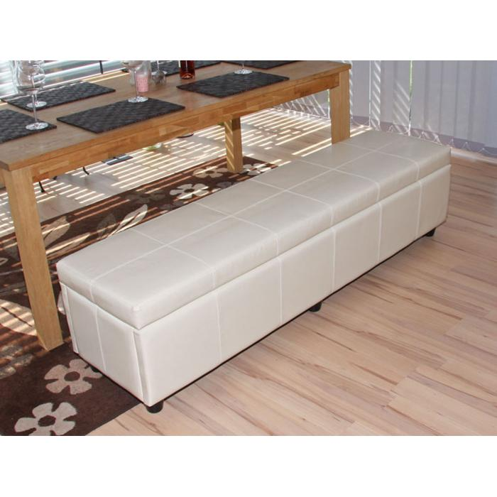 bank sitzbank mit aufbewahrung kriens xxl kunstleder 180x45x45cm creme. Black Bedroom Furniture Sets. Home Design Ideas