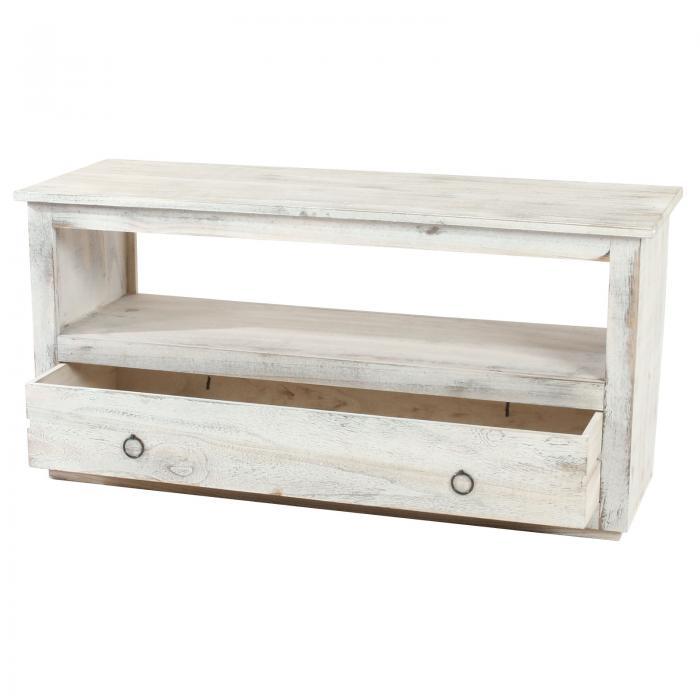 tv rack fernsehtisch lowboard tv regal shabby look vintage wei. Black Bedroom Furniture Sets. Home Design Ideas