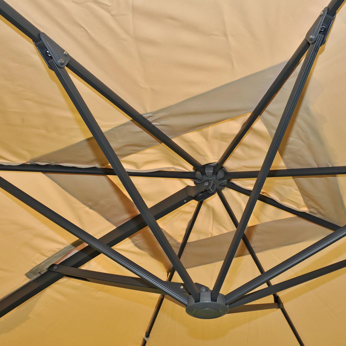 Gastronomie-Alu-Luxus-Doppel-Ampelschirm T44 Detailansicht Streben