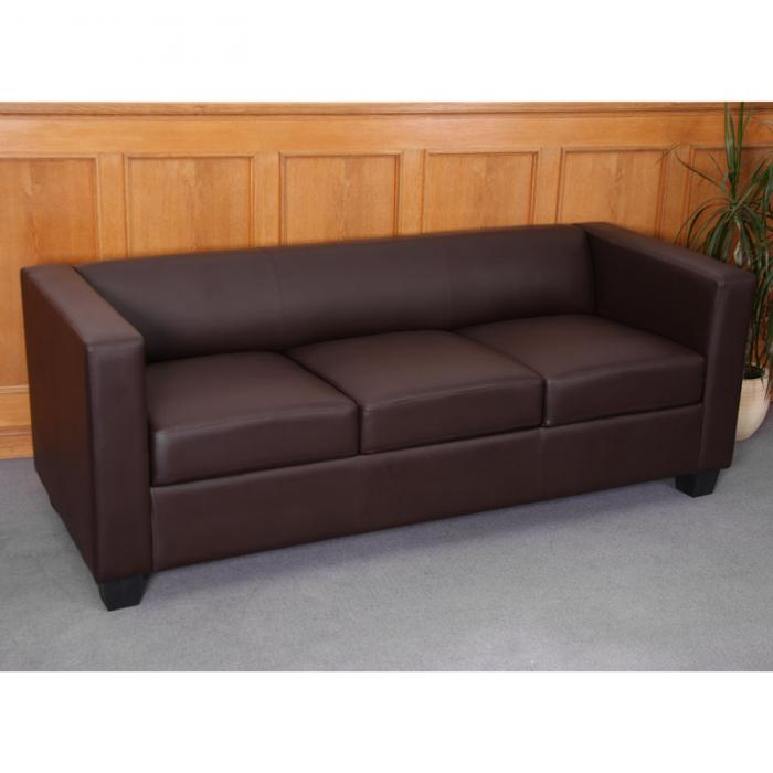 3-1-1 Sofagarnitur Couchgarnitur Loungesofa Lille Kunstleder ~ coffee