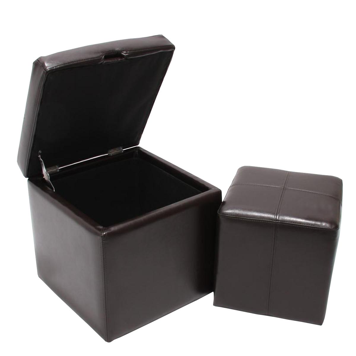 Taburete para guardarlas guardarlas para con tapa onex, cuero, negro marrón crema 5c86e3