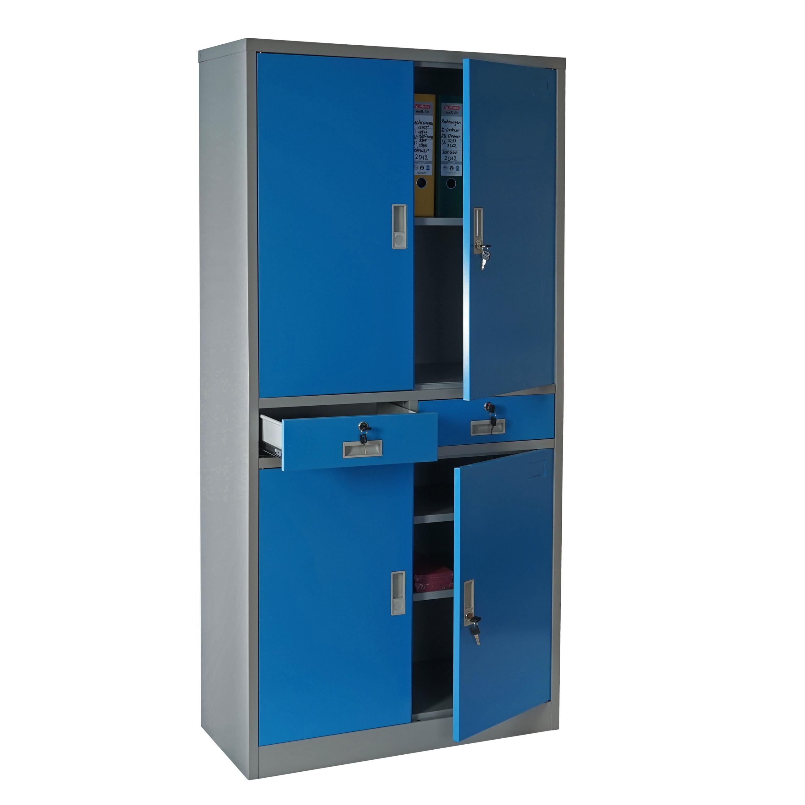 Büroschrank weiß schubladen  Boston T132, Metallschrank Büroschrank, 51kg 4 Türen 2 Schubladen ...