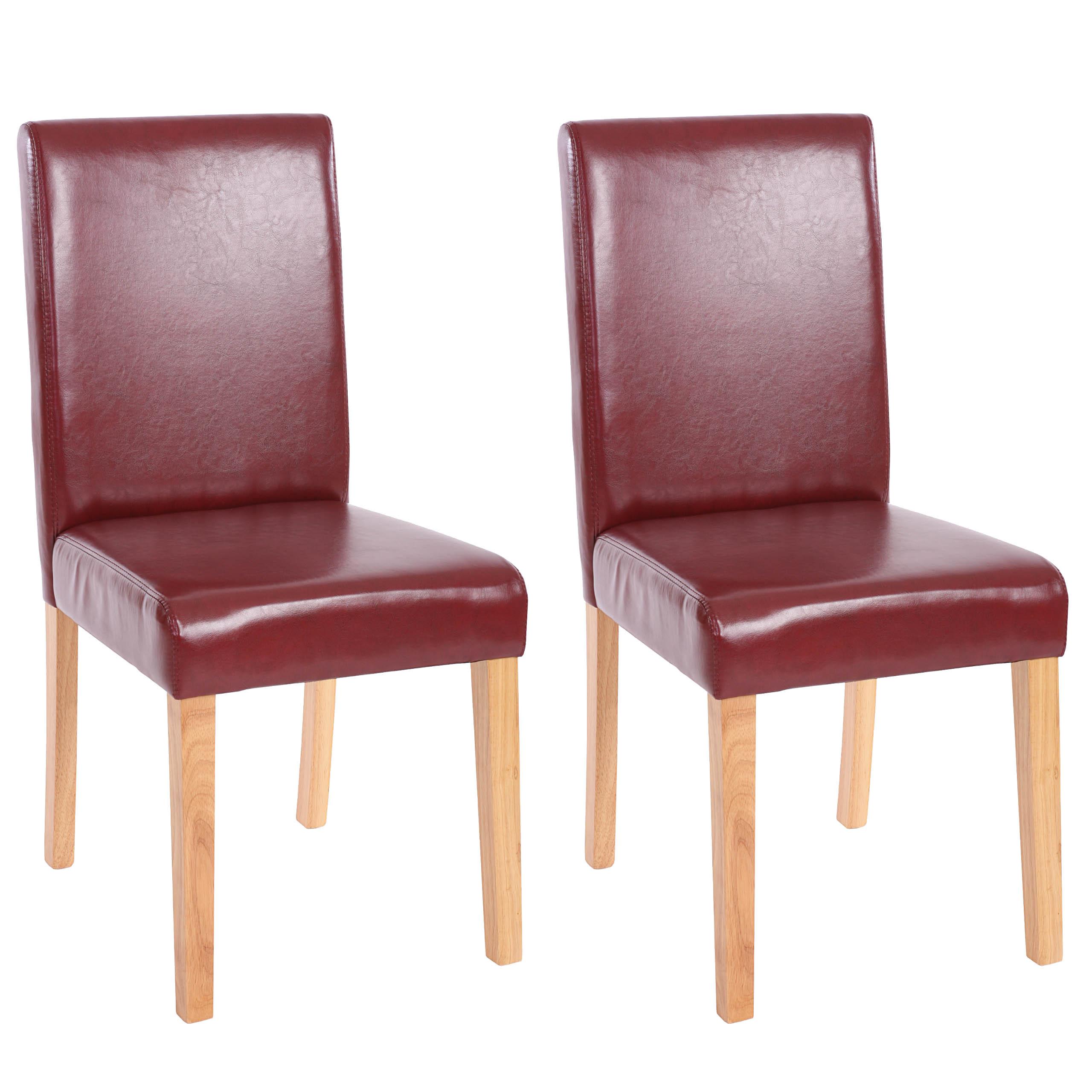 6x esszimmerstuhl stuhl lehnstuhl littau kunstleder rot braun helle beine. Black Bedroom Furniture Sets. Home Design Ideas