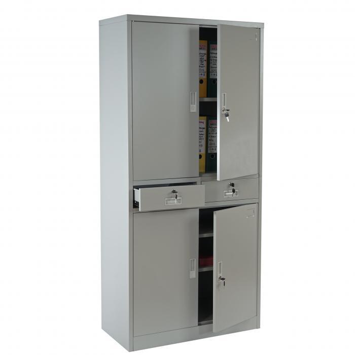 Aktenschrank Boston T132, Metallschrank Büroschrank, 51kg 4 Türen 2 ...
