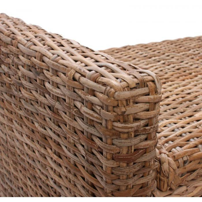 aufbewahrungstruhe truhe sitzbank m92 rattan mit kissen 88cm kubu grau. Black Bedroom Furniture Sets. Home Design Ideas