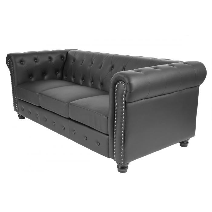 luxus 3er sofa loungesofa couch chesterfield kunstleder runde f e schwarz. Black Bedroom Furniture Sets. Home Design Ideas