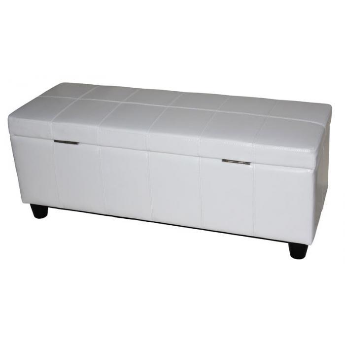 Aufbewahrungs Truhe Sitzbank Kriens, Leder + Kunstleder, 112x45x45cm ~ Weiß