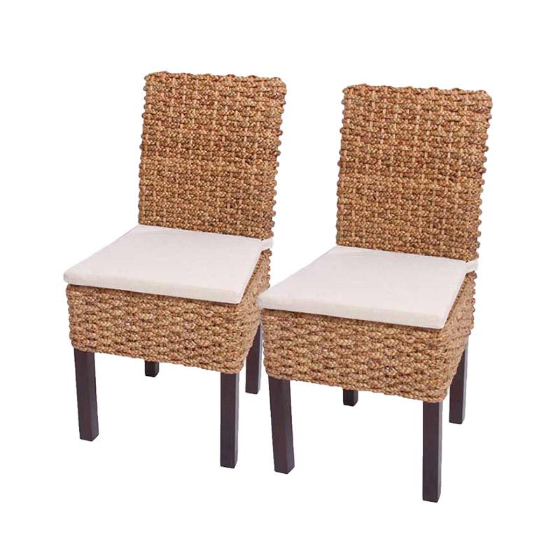 2x Esszimmerstuhl Korbstuhl M43 Stuhl Wasserhyazinthe