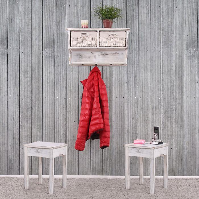 Garderobe Wandregal Mit 2 Körben + 2x Beistelltisch, Shabby Look, Vintage ~  Weiß
