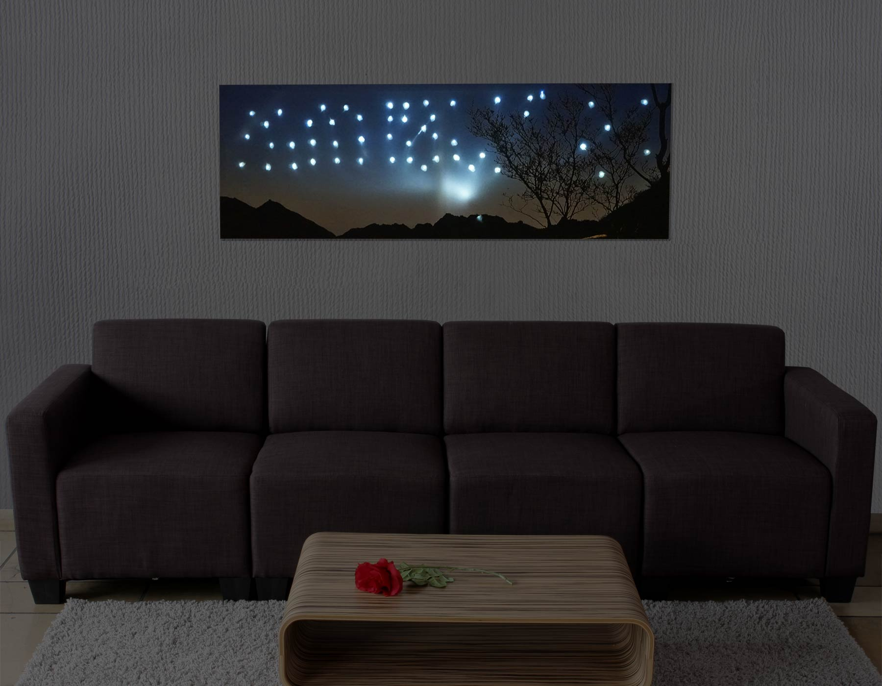 led bild leinwandbild leuchtbild wandbild 100x35cm sonnenuntergang. Black Bedroom Furniture Sets. Home Design Ideas