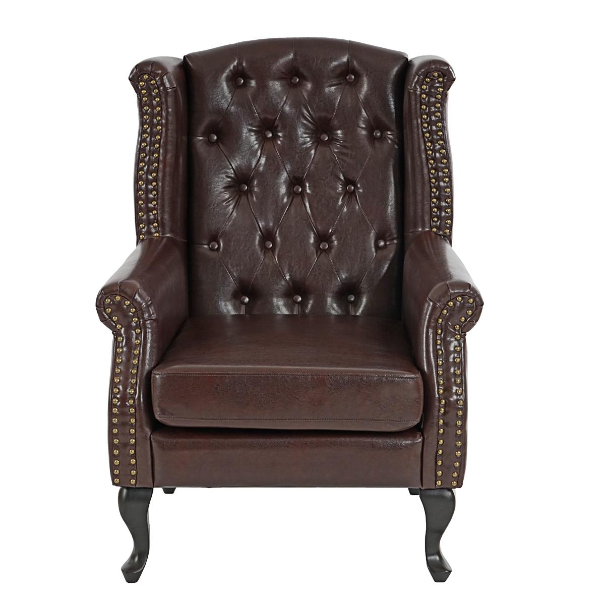 sessel relaxsessel clubsessel ohrensessel chesterfield kunstleder antik braun ohne ottomane. Black Bedroom Furniture Sets. Home Design Ideas