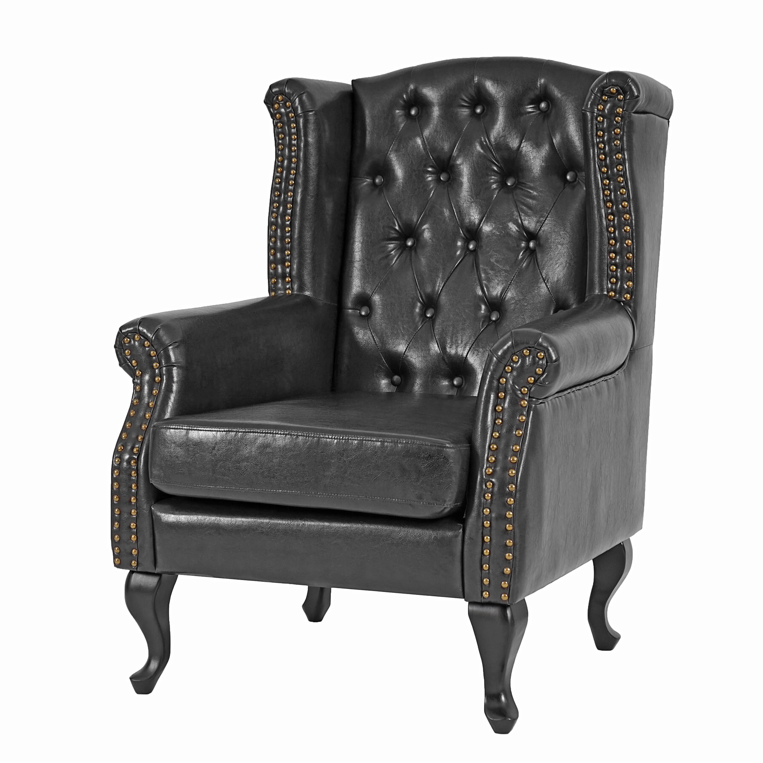 sessel relaxsessel clubsessel ohrensessel chesterfield kunstleder schwarz ohne ottomane. Black Bedroom Furniture Sets. Home Design Ideas