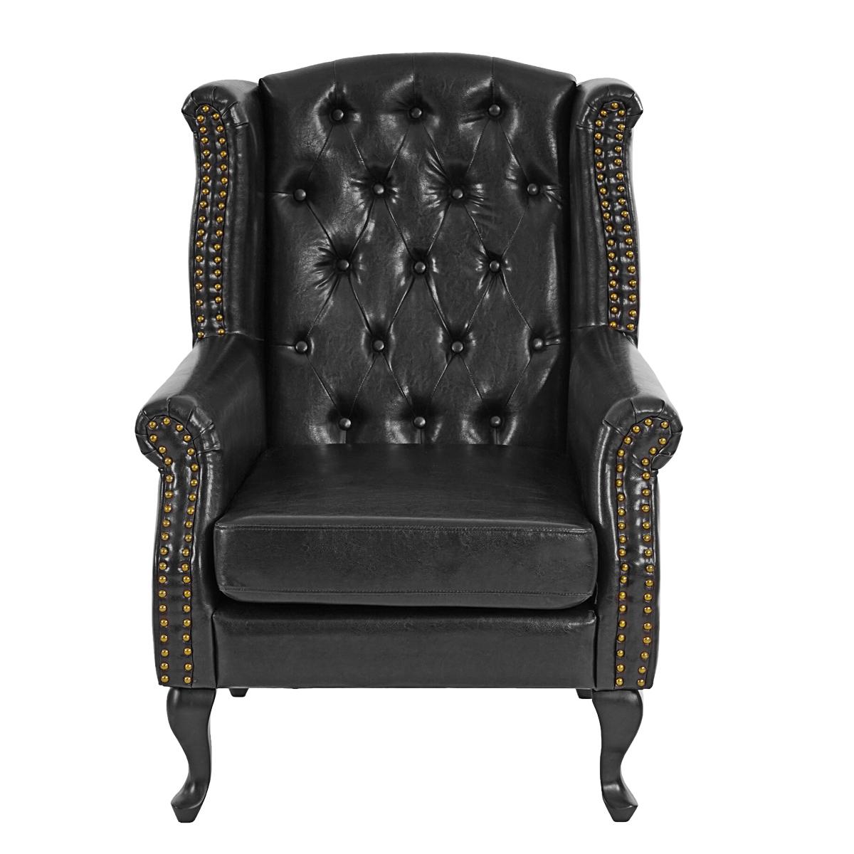 sessel relaxsessel clubsessel ohrensessel chesterfield kunstleder schwarz ohne ottomane. Black Bedroom Furniture Sets. Home Design Ideas