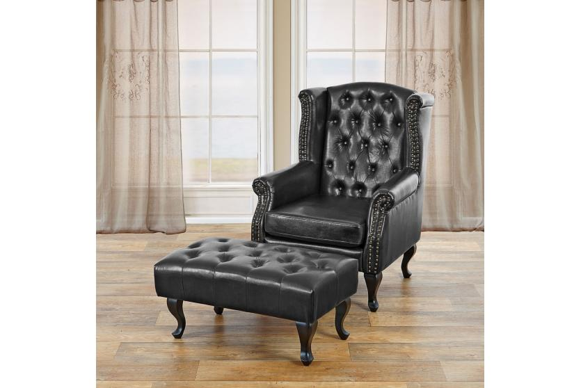 sessel relaxsessel clubsessel ohrensessel chesterfield kunstleder schwarz mit ottomane. Black Bedroom Furniture Sets. Home Design Ideas