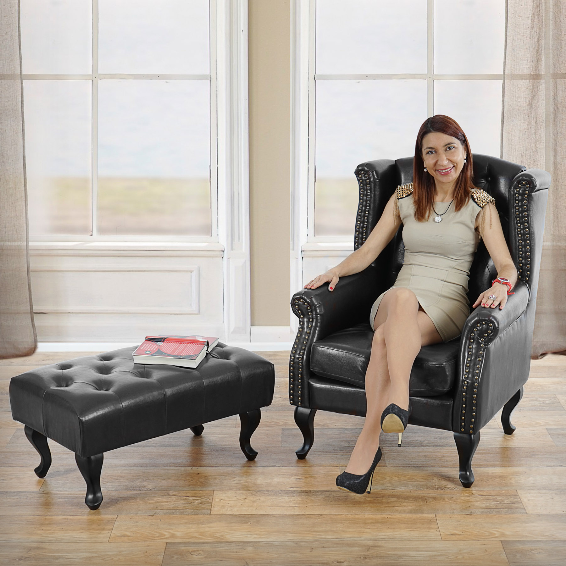 sessel relaxsessel clubsessel ohrensessel chesterfield kunstleder schwarz mit ottomane. Black Bedroom Furniture Sets. Home Design Ideas