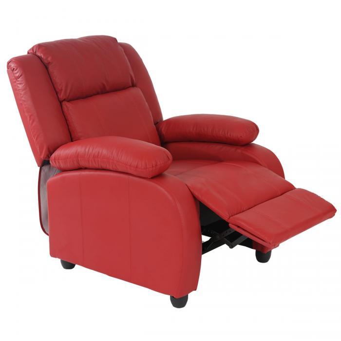 Fernsehsessel Relaxsessel Liege Sessel Lincoln Kunstleder Rot