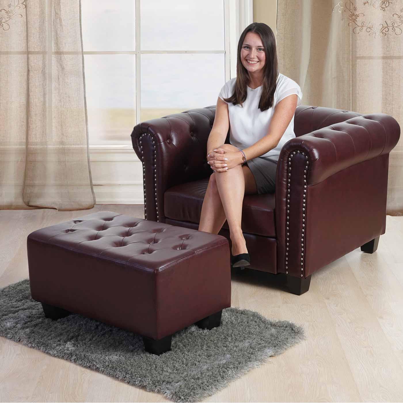 luxus 3 2 1 sofagarnitur couchgarnitur loungesofa chesterfield kunstleder eckige f e rot braun. Black Bedroom Furniture Sets. Home Design Ideas