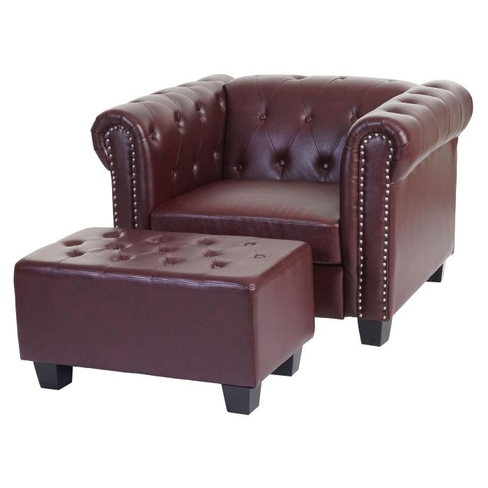 luxus sessel loungesessel relaxsessel chesterfield kunstleder eckige f e rot braun mit ottomane. Black Bedroom Furniture Sets. Home Design Ideas