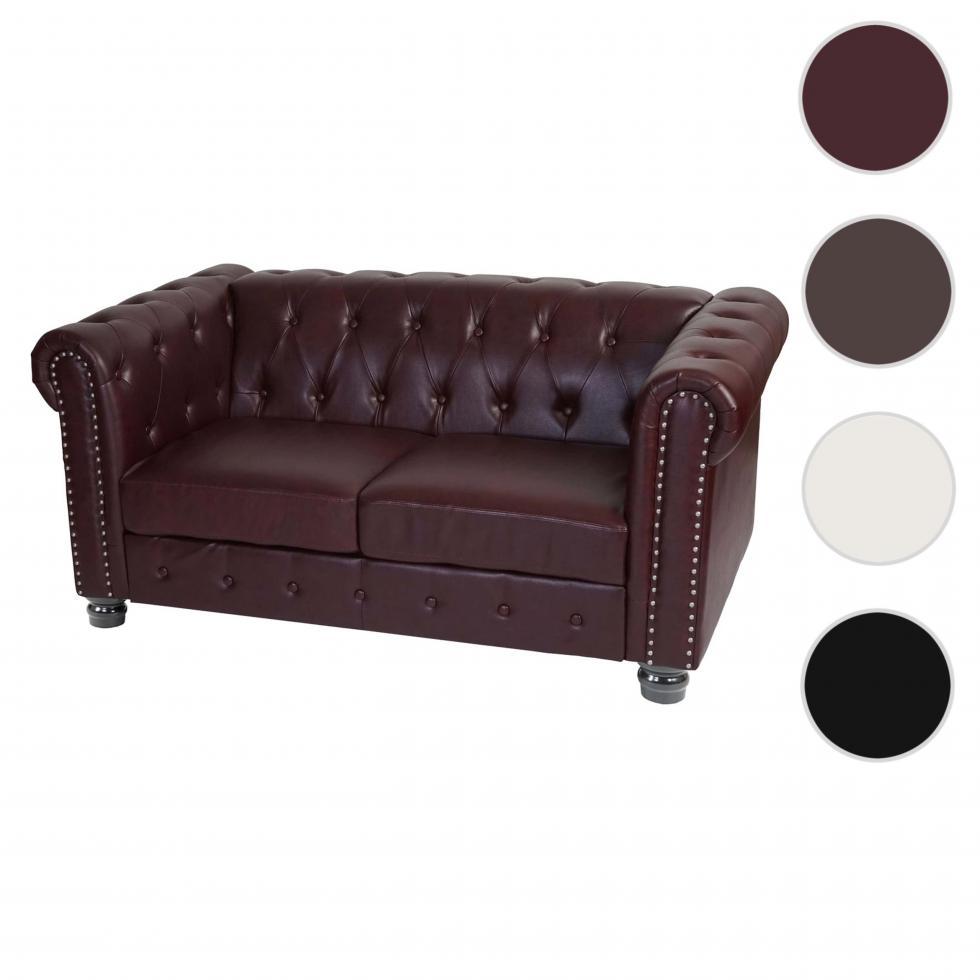 Luxus 2er Sofa Chesterfield Loungesofa Kunstleder runde