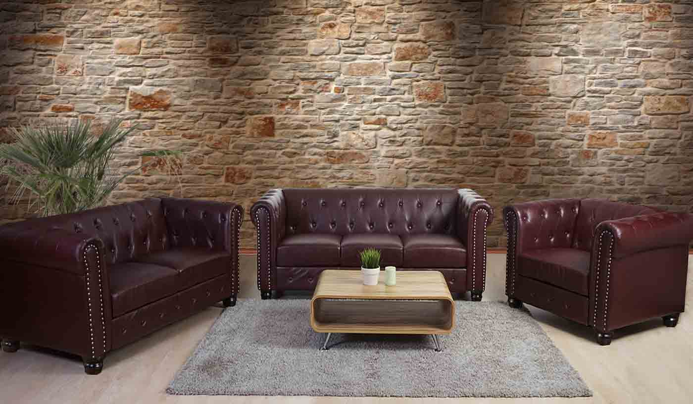 luxus 3 2 1 sofagarnitur chesterfield couch kunstleder runde oder eckige f e ebay. Black Bedroom Furniture Sets. Home Design Ideas
