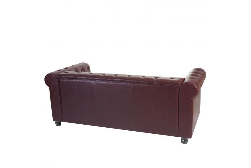 luxus 3er sofa chesterfield edinburgh kunstleder eckige f e rot braun ebay. Black Bedroom Furniture Sets. Home Design Ideas