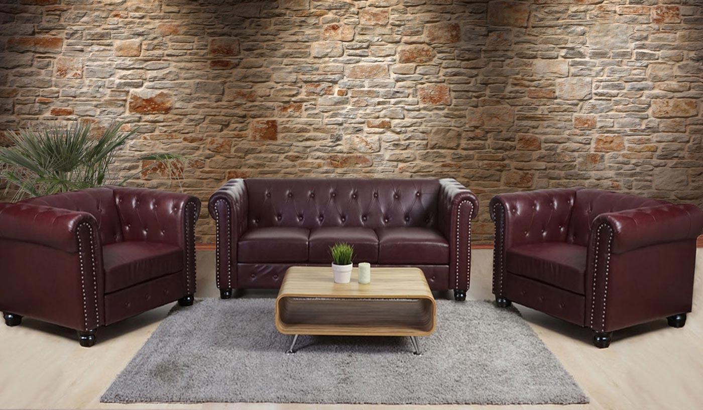 luxus 3 1 1 sofagarnitur chesterfield couch kunstleder runde oder eckige f e ebay. Black Bedroom Furniture Sets. Home Design Ideas