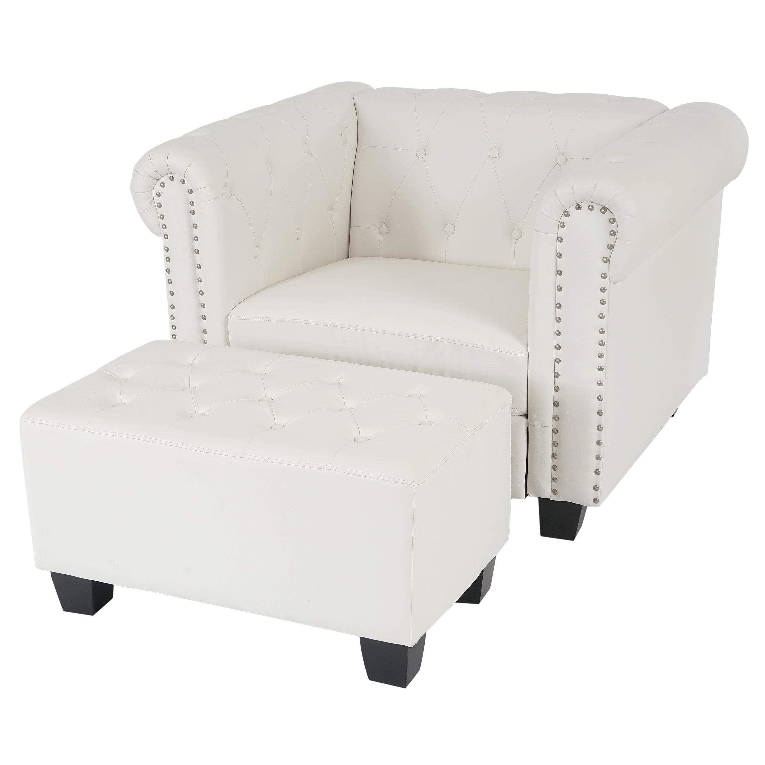 luxus sessel loungesessel relaxsessel chesterfield kunstleder eckige f e wei mit ottomane. Black Bedroom Furniture Sets. Home Design Ideas