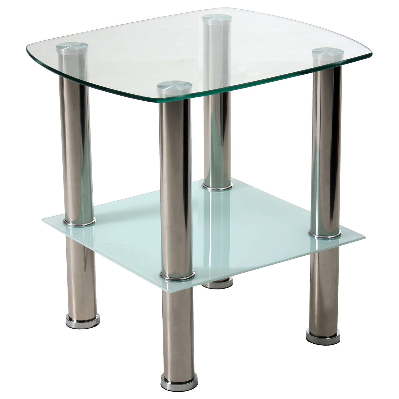 FG3, Couchtisch Wohnzimmertisch, mit 2 Glasplatten, Edelstahl ...