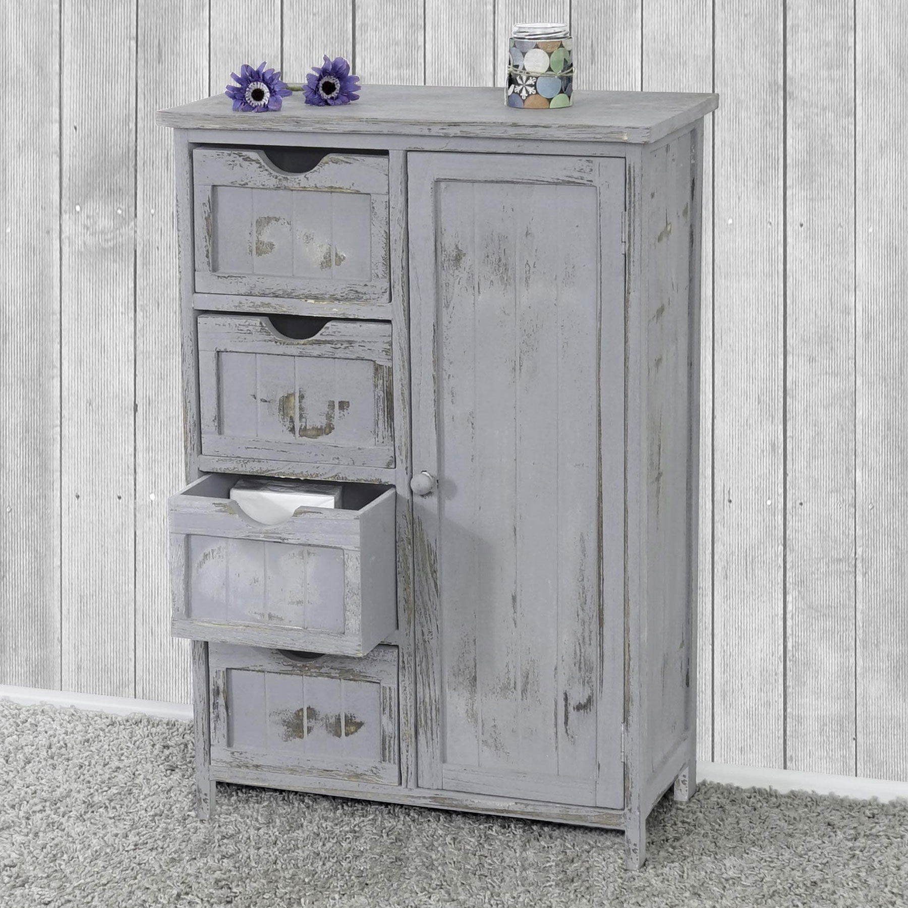 kommode schrank 82x55x30cm shabby look vintage grau braun wei ebay. Black Bedroom Furniture Sets. Home Design Ideas