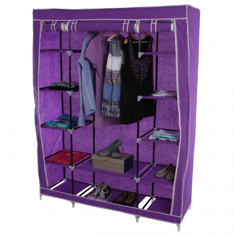 faltschrank campingschrank stoffschrank kleiderschrank 173x135x45cm lila ebay. Black Bedroom Furniture Sets. Home Design Ideas