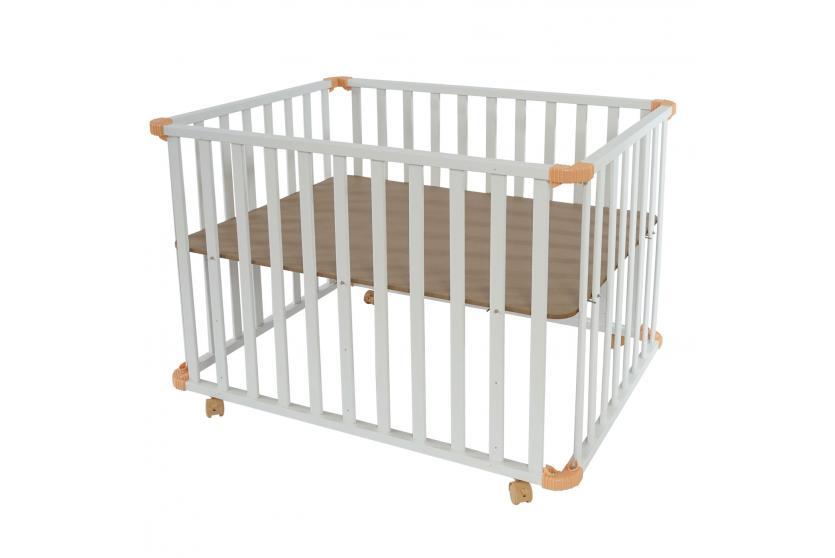 baby laufstall laufgitter inkl einlage wei lackiert h henverstellbar 97x72cm ebay. Black Bedroom Furniture Sets. Home Design Ideas