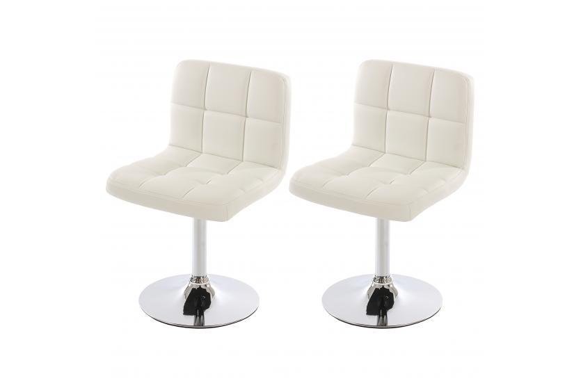 Esszimmerstühle modern weiß  2x Esszimmerstuhl Drehstuhl Stuhl Kavala Kunstleder Chrom ~ weiß