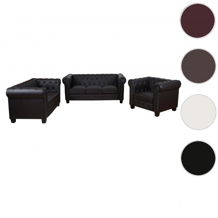 luxus 3 2 1 sofagarnitur couchgarnitur loungesofa chesterfield kunstleder eckige f e braun. Black Bedroom Furniture Sets. Home Design Ideas