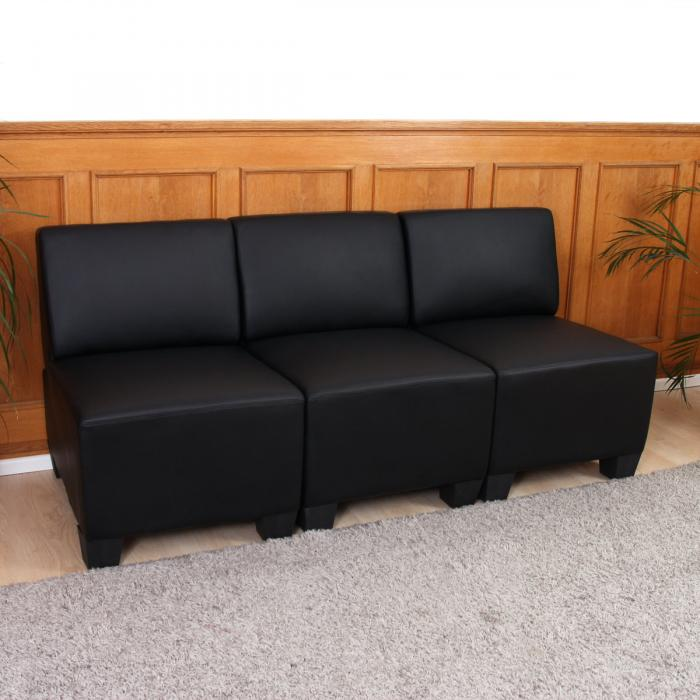 modular 3 sitzer sofa couch lyon kunstleder schwarz ohne armlehnen. Black Bedroom Furniture Sets. Home Design Ideas