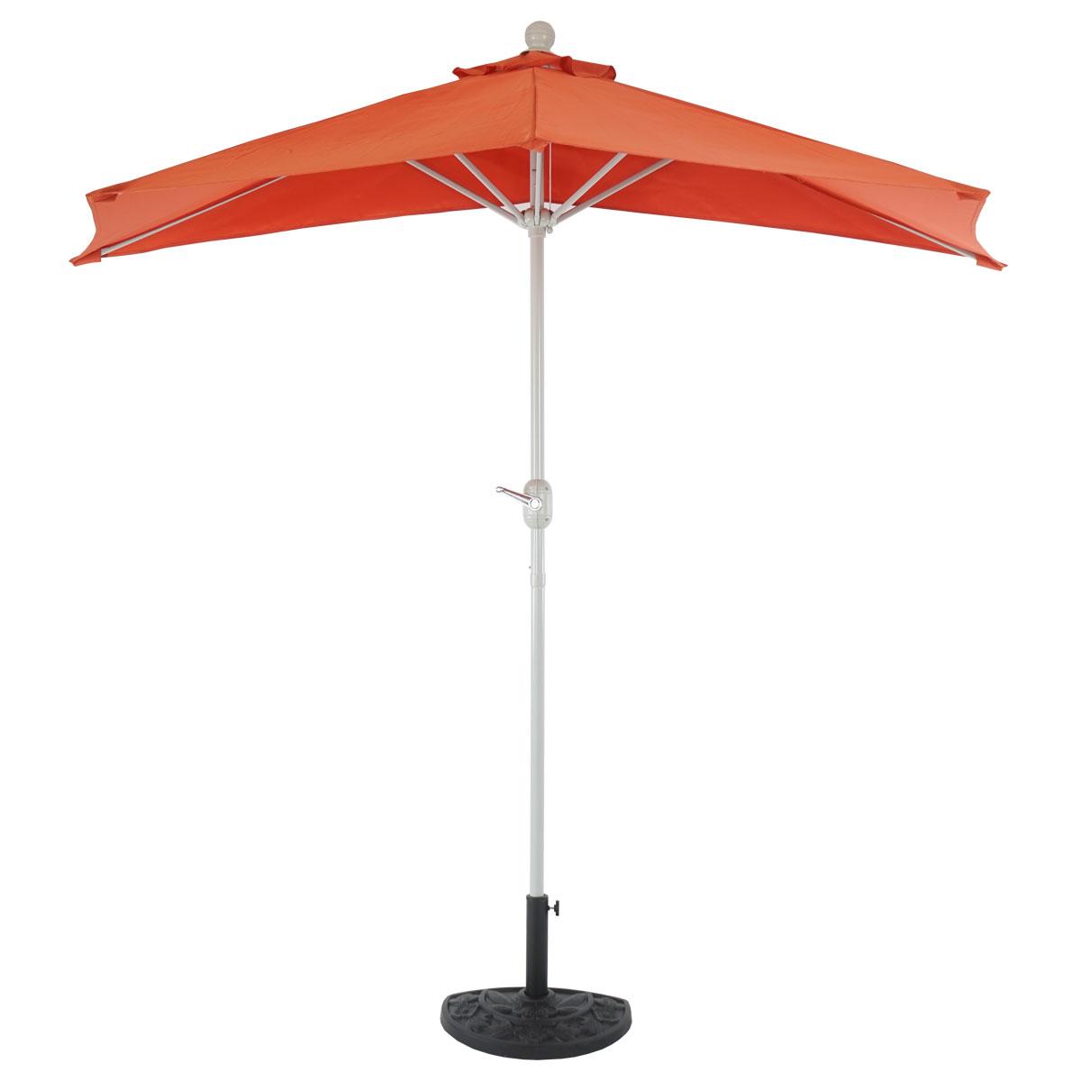 demi parasol aluminium parla pour balcon ip 50 260cm terracotta avec pied ebay. Black Bedroom Furniture Sets. Home Design Ideas